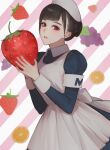 1girl absurdres apron bamme_o3o bangs blue_dress brown_eyes brown_hair commentary_request copyright_request diagonal_stripes dress food food_print fruit grey_apron hands_up highres holding holding_food holding_fruit juliet_sleeves lemon_print long_sleeves looking_at_viewer maid maid_apron maid_headdress parted_lips pink_background puffy_sleeves short_hair solo strawberry strawberry_print striped striped_background white_background