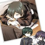 2boys ahoge bangs black_hair blush_stickers buttons checkered checkered_neckwear checkered_scarf commentary_request computer dangan_ronpa_(series) dangan_ronpa_v3:_killing_harmony double-breasted gakuran green_eyes hair_between_eyes highres jacket laptop long_sleeves looking_at_another male_focus multiple_boys multiple_views open_mouth ouma_kokichi pen photo_(object) purple_hair saihara_shuuichi scarf school_uniform short_hair simple_background sketch sleeping smile striped striped_jacket uyamuya_(buta) violet_eyes white_background