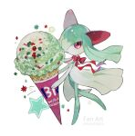 1girl absurdres acrylic_paint_(medium) artist_name bangs baskin-robbins bow colored_skin commentary_request diamond_(shape) english_text flat_chest food full_body gen_3_pokemon green_hair green_skin hair_over_one_eye happy highres holding holding_food ice_cream_cone kirlia leg_up long_hair looking_at_viewer multicolored multicolored_skin open_mouth oversized_food painting_(medium) pokemon pokemon_(creature) red_bow red_eyes red_ribbon ribbon shiny shiny_hair simple_background smile solo standing standing_on_one_leg star_(symbol) susutouka traditional_media twitter_username two-tone_skin watermark white_background white_skin
