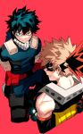 2boys angry arms_behind_back bakugou_katsuki bangs bare_shoulders black_hair blonde_hair blue_eyes bodysuit boku_no_hero_academia bound bound_arms commentary_request cut_(nifuhami_35) freckles from_above gloves green_bodysuit green_eyes green_hair looking_at_viewer looking_back male_focus midoriya_izuku multicolored multicolored_bodysuit multicolored_clothes multicolored_hair multiple_boys pants pouch red_background red_eyes simple_background spiky_hair teeth two-tone_hair