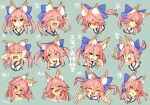 1girl angry animal_ear_fluff animal_ears blue_ribbon blush closed_eyes closed_mouth collarbone embarrassed eyebrows_visible_through_hair fang fate/extella fate/extra fate/extra_ccc fate/grand_order fate_(series) fox_ears fox_girl hair_ribbon heart highres japanese_clothes looking_at_viewer music musical_note open_mouth pink_hair ribbon shaded_face shy singing skin_fang solo staring surprised sweat tamamo_(fate) tamamo_no_mae_(fate/extra) translation_request wisespeak yellow_eyes