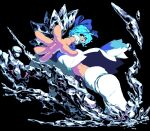 1girl blue_dress blue_eyes blue_hair cirno dress ice ice_wings looking_at_viewer looking_back namako_(takorin) open_mouth pixel_art puffy_short_sleeves puffy_sleeves short_hair short_sleeves smile solo touhou wings