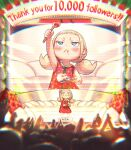 1girl :< blonde_hair blue_eyes chromatic_aberration crowd dress food fork fruit hand_up highres kozato_(yu_kozato) low_twintails original polka_dot red_dress short_twintails sleeveless solo_focus stage stage_lights strawberry strawberry_shortcake twintails