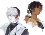 2boys arknights black_hair black_shirt chinese_commentary coat commentary_request dark-skinned_male dark_skin ear_clip earrings elysium_(arknights) eyebrows_visible_through_hair feather_hair frown gloves grey_eyes hand_up jewelry looking_at_viewer male_focus multicolored_hair multiple_boys necklace parted_lips redhead shirt short_ponytail simple_background smile streaked_hair thorns_(arknights) upper_body white_background white_coat white_gloves white_hair xiandao1213 yellow_eyes