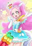 1girl :d animal_ears armpits bangs blue_dress blue_hairband breasts collarbone cowboy_shot cure_parfait dress earrings elbow_gloves fake_animal_ears gloves green_eyes hairband hanzou highres horse_ears horse_tail jewelry kirakira_precure_a_la_mode layered_dress long_hair open_mouth outstretched_arm parted_bangs pink_hair precure short_dress sleeveless sleeveless_dress small_breasts smile solo sparkle standing tail very_long_hair w white_gloves