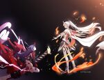 2girls antenna_hair armor bangs bare_shoulders barefoot black_background blue_eyes boots cape closed_mouth disembodied_limb electricity fire full_body gauntlets hair_between_eyes hair_ornament highres holding holding_sword holding_weapon honkai_(series) honkai_impact_3rd horns japanese_armor katana kiana_kaslana kiana_kaslana_(herrscher_of_flamescion) long_hair looking_at_another mamt56 multiple_girls outstretched_arm ponytail purple_hair raiden_mei raiden_mei_(herrscher_of_thunder) seiza sheath sheathed single_gauntlet sitting standing sword thigh-highs thigh_boots torn_cape torn_clothes violet_eyes weapon white_footwear white_hair