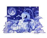 ._. absurdres acrylic_paint_(medium) altaria animal_focus artist_name black_eyes blank_eyes blue_bow blue_eyes blue_ribbon blue_theme blush_stickers border bow closed_eyes closed_mouth commentary_request constellation fluffy flying full_body full_moon gen_3_pokemon highres looking_at_another looking_down moon night no_humans on_cloud outdoors outside_border painting_(medium) pokemon pokemon_(creature) ribbon signature sitting sleeping star_(sky) star_(symbol) susutouka swablu traditional_media white_border