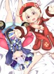 2girls :d absurdres ahoge aqua_shorts arms_up bangs bead_necklace beads bed_sheet bloomers brown_scarf cabbie_hat cape chinese_clothes clover_print coat commentary_request edake_(sd_2tousin) eyebrows_visible_through_hair genshin_impact hair_between_eyes hat hat_feather hat_ornament highres holding jewelry jiangshi klee_(genshin_impact) light_brown_hair long_hair long_sleeves low_twintails lying multiple_girls necklace no_gloves ofuda open_mouth orange_eyes orb outstretched_arms pocket pointy_ears purple_hair qing_guanmao qiqi_(genshin_impact) reaching_out red_coat red_headwear scarf shorts sidelocks smile snowflakes spread_arms twintails underwear upside-down violet_eyes vision_(genshin_impact) yin_yang yin_yang_orb