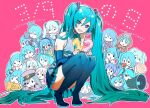 1girl 39 :d absurdly_long_hair blue_eyes blue_footwear blue_hair blue_nails blue_skirt blue_sleeves blush boots character_doll character_name collared_shirt detached_sleeves eyebrows_visible_through_hair floating_hair full_body grey_shirt hair_between_eyes hatsune_miku high_heel_boots high_heels jun_(nad-j) long_hair long_sleeves looking_at_viewer megaphone miniskirt nail_polish open_mouth pink_background pleated_skirt shiny shiny_hair shirt skirt sleeveless sleeveless_shirt smile solo squatting thigh-highs thigh_boots twintails very_long_hair vocaloid wing_collar zettai_ryouiki
