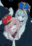 2girls animal_hood bangs blue_cloak blue_eyes blue_hair blue_nails cloak commentary crown eyebrows_visible_through_hair fur-trimmed_cloak fur_trim gawr_gura hand_on_another's_face highres hololive hololive_english hood hood_up king_(vocaloid) long_hair looking_at_another mori_calliope multicolored_hair multiple_girls nail_polish open_mouth pink_hair red_eyes shark_hood sharp_teeth silver_hair smile streaked_hair teeth tongue tongue_out virtual_youtuber wowari-c.