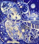 acrylic_paint_(medium) animal animal_focus anklet artist_name bird blue_cape blue_headwear blue_sky blue_theme cape closed_mouth clothed_animal clouds commentary_request constellation_print crescent crown crystal diamond_(shape) foot_hold from_side full_body full_moon gem grey_headwear hat highres holding holding_wand jewelry leg_up looking_at_viewer moon mountain night no_humans original owl painting_(medium) railing shooting_star signature sky standing standing_on_one_leg star_(sky) stellated_octahedron striped_cape susutouka traditional_media wand wizard_hat yellow_eyes