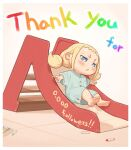 1girl :< barefoot blonde_hair blue_eyes border buttons child commentary_request crayon kozato_(yu_kozato) low_twintails original oversized_clothes short_sleeves short_twintails slide solo twintails white_border