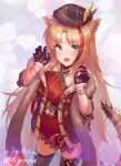 1girl animal_ears arknights black_gloves black_legwear blush bracelet china_dress chinese_clothes claw_pose collarbone commentary_request cowboy_shot dress ear_piercing fang gloves green_eyes hands_up highres jewelry looking_at_viewer meckeke_(mkk) multicolored_hair official_alternate_costume open_mouth orange_hair piercing red_dress redhead skin_fang sleeveless sleeveless_dress solo streaked_hair swire_(arknights) swire_(honor_and_splendor)_(arknights) tail teeth thigh-highs tiger_ears tiger_girl tiger_tail watch watch