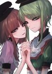 2girls 33_gaff absurdres black_headwear bow brown_hair closed_mouth collar commentary_request eyeliner frills green_eyes green_hair hat highres holding_hands makeup medium_hair multiple_girls nishida_satono open_mouth short_hair short_sleeves simple_background smile teireida_mai touhou white_background