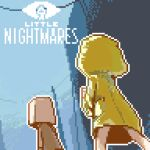 1boy 1girl bag bag_on_head barefoot blue_background brown_jacket commentary from_behind guest_(my_name_is_guest) highres hood hood_up jacket little_nightmares logo long_sleeves mono_(little_nightmares) no_pants paper_bag pixel_art raincoat six_(little_nightmares) yellow_raincoat