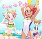 3girls :d armpits arms_up ass_visible_through_thighs ball bangs bare_arms beach bike_shorts blue_eyes breasts camilla_(pokemon) clouds collarbone commentary covered_navel day english_commentary english_text eyelashes flower gazing_eye gen_1_pokemon goggles goggles_around_neck green_hairband green_swimsuit hairband heart holding holding_ball looking_at_viewer misty_(pokemon) multiple_girls navel open_mouth orange_hair outdoors pink_hair pokemon pokemon_(creature) pokemon_(game) pokemon_masters_ex psyduck sand shore short_hair sky smile standing swept_bangs swimsuit tied_hair tongue upper_teeth water white_flower white_swimsuit wristband