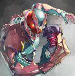 1boy armor holding kamen_rider kamen_rider_revi kamen_rider_revice leaning_forward male_focus nishii_(nitroplus) open_hand red_eyes smile solo tokusatsu upper_body vistamp