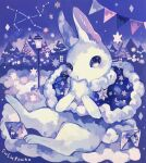 1other acrylic_paint_(medium) animal_ears animal_feet animal_hands artist_name blank_eyes blue_capelet blue_eyes blush body_fur capelet clouds commentary_request constellation covering_mouth crescent crystal diamond_(shape) full_body fur-trimmed_capelet fur_trim furry hands_up highres holding house lamppost light_blush looking_at_viewer night on_cloud original other_focus outdoors painting_(medium) rabbit_ears rabbit_tail signature sitting solo string_of_flags susutouka tail traditional_media whiskers white_fur