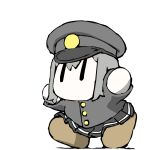 1girl akitsu_maru_(kancolle) arms_up black_hair black_skirt brown_footwear chibi gloves hat kantai_collection long_sleeves military military_uniform miniskirt no_mouth peaked_cap pleated_skirt shoes short_hair simple_background skirt solo task_(s_task80) uniform white_background white_gloves |_|