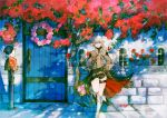 1girl alisaie_leveilleur bangs blue_eyes boots bouquet braid door earrings elezen elf final_fantasy final_fantasy_xiv flower hair_between_eyes hair_ribbon jewelry long_hair looking_to_the_side mailbox_(incoming_mail) moogle peppermint_jet pointy_ears ponytail ribbon smile solo thigh_strap white_hair