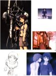 abe_yoshitoshi absurdres artbook bed brown_eyes brown_hair dual_persona dusk from_above highres iwakura_lain machine monochrome nude official_art scan serial_experiments_lain short_hair sitting sketch skirt tears traditional_media tree vending_machine yoshitoshi_abe