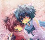 akaito animal_ears bad_id blue_hair cat_ears chibi kaito male multiple_boys red_hair redhead short_hair tsutaya vocaloid