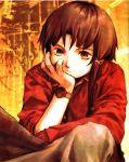 1girl abe_yoshitoshi absurdres artbook brown_eyes brown_hair chin_rest hand_on_own_cheek hand_on_own_face highres iwakura_lain official_art scan serial_experiments_lain short_hair sitting skirt solo watch wristwatch yoshitoshi_abe