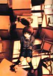 abe_yoshitoshi absurdres artbook bag blazer book brown_eyes brown_hair cable cellphone chair classroom desk dusk from_above highres iwakura_lain looking_up official_art phone plaid plaid_skirt scan school_bag school_uniform serial_experiments_lain short_hair sitting skirt yoshitoshi_abe