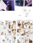 abe_yoshitoshi absurdres artbook bowl brown_eyes brown_hair comic computer cross_eyed food highres iwakura_lain looking_up monochrome official_art scan serial_experiments_lain short_hair sketch soup traditional_media translation_request yonera_touko yoshitoshi_abe