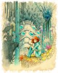 brown_eyes brown_hair ghibli gloves kayu kaze_no_tani_no_nausicaa nausicaa ohmu scenery sitting studio_ghibli teto