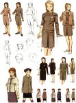 abe_yoshitoshi absurdres artbook brown brown_eyes brown_hair character_sheet coat costume_chart dress highres monochrome official_art scan serial_experiments_lain short_hair sketch sweater traditional_media yonera_touko yoshitoshi_abe