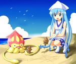 1girl beach blue_eyes blue_hair ikamusume long_hair open_mouth shinryaku!_ikamusume tic-tac-toe tsurukou_(tksymkw) very_long_hair