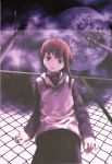 abe_yoshitoshi absurdres artbook brown_eyes brown_hair chainlink_fence cloud fence from_below head_tilt highres hoodie iwakura_lain lamppost looking_down moon official_art power_lines scan serial_experiments_lain short_hair skirt sky telephone_pole yoshitoshi_abe