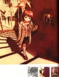 abe_yoshitoshi absurdres argyle argyle_legwear artbook brown_eyes brown_hair coat dusk from_above head_tilt highres iwakura_lain looking_up monochrome official_art power_lines scan serial_experiments_lain short_hair sketch skirt stairs telephone_pole traditional_media window yoshitoshi_abe