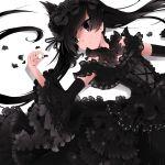 black_hair black_hole detached_sleeves dress frills gothic_lolita lolita_fashion long_hair lying mizushirazu original personification twintails