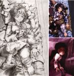 abe_yoshitoshi artbook asymmetrical_hair bed brown_eyes brown_hair cellphone checkered computer door highres iwakura_lain laptop looking_back lying monochrome official_art pajamas phone plaid red_eyes scan serial_experiments_lain shadow short_hair sketch squatting striped stuffed_animal stuffed_toy teddy_bear traditional_media yoshitoshi_abe