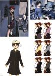 abe_yoshitoshi absurdres artbook bag book brown_eyes brown_hair chair character_sheet computer computer_keyboard computer_mouse desk dress hat highres iwakura_lain office_chair official_art plant playstation scan school_bag school_uniform serial_experiments_lain short_hair shorts sitting skirt yoshitoshi_abe