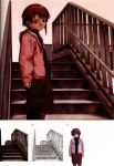 abe_yoshitoshi absurdres artbook brown_eyes brown_hair from_below highres iwakura_lain jacket looking_down monochrome official_art railing scan serial_experiments_lain short_hair sketch skirt stairs traditional_media yoshitoshi_abe