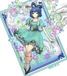 1girl aqua_dress bangs belt blue_eyes blue_hair breasts closed_mouth collarbone commentary_request dated dress eyebrows_behind_hair floral_background flower full_body hagoromo hair_ornament hair_rings hair_stick highres kaku_seiga leg_ribbon looking_at_viewer medium_breasts ofuda open_clothes open_vest petticoat puffy_short_sleeves puffy_sleeves ribbon shawl short_hair short_sleeves simple_background smile solo tandori_tsubasa touhou vest white_background white_flower white_legwear white_vest
