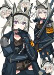 >_< 5girls :> :d @_@ absurdres animal_ears arknights armband brown_shirt chibi commentary grani_(arknights) grey_hair highres holding holding_weapon horse_ears horse_girl huge_filesize infection_monitor_(arknights) jacket long_hair looking_at_viewer makotoyukiko multiple_girls multiple_persona open_clothes open_jacket open_mouth police police_uniform shirt smile solid_oval_eyes uniform upper_body violet_eyes visor_cap weapon white_background xd