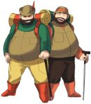 2boys :d backpack bag beard boots brown_headwear brown_vest cane closed_eyes commentary_request facial_hair facing_viewer full_body green_shirt grin hat hiker_(pokemon) holding holding_cane long_sleeves male_focus maou_abusorun multiple_boys open_mouth orange_footwear pants pokemon pokemon_(game) pokemon_bw pokemon_dppt shirt smile teeth tongue upper_teeth vest yellow_pants