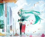 1girl absurdres aqua_eyes aqua_hair aqua_neckwear autumn_leaves bare_shoulders bird black_legwear black_skirt black_sleeves chinese_commentary clouds commentary day detached_sleeves falling_petals floating_hair flower hair_ornament hand_up hatsune_miku hatsune_miku_(nt) headphones highres holding_luggage huge_filesize layered_sleeves long_hair luggage ly.t miniskirt neck_ribbon outdoors paper petals piapro pink_flower pleated_skirt ribbon see-through_sleeves sheet_music shirt skindentation skirt sleeveless sleeveless_shirt solo thigh-highs tree twintails very_long_hair vocaloid walking white_bird white_shirt wide_shot wind zettai_ryouiki