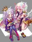 2girls :3 angel angel_wings asymmetrical_legwear blue_hair blue_legwear blush breasts closed_mouth commentary crop_top crown elbow_gloves feathered_wings game_console gloves gradient_hair halo heart highres jibril_(no_game_no_life) large_breasts long_hair low_wings magic_circle messy_hair midriff mismatched_legwear mouth_drool multicolored multicolored_eyes multicolored_hair multiple_girls no_game_no_life open_mouth pink_eyes pink_hair school_uniform serafuku shino_(eefy) shiro_(no_game_no_life) sideboob sitting smile sora_(no_game_no_life) tattoo thigh-highs toy_car very_long_hair white_wings wing_ears wings yellow_eyes