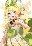 1girl aqua_eyes blonde_hair blurry blurry_foreground bow bug butterfly butterfly_background butterfly_on_hand commentary dress green_bow green_neckwear hair_bow hand_on_own_chest highres kagamine_rin looking_at_viewer magical_mirai_(vocaloid) medallion neckerchief open_mouth orange_butterfly polka_dot polka_dot_dress saz8720 short_hair short_sleeves silhouette solo upper_body vocaloid white_background white_dress yellow_butterfly