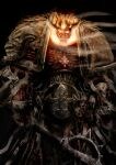 1boy armor black_background chain chaos_(warhammer) daemon_prince demon_horns holding holding_sword holding_weapon horns lorgar monster pauldrons power_armor primarch science_fiction shoulder_armor skull slaine69 solo sword upper_body warhammer_40k weapon