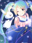 1girl 1other aoiyui aqua_eyes aqua_hair blue_dress blue_scarf commentary constellation_print dress frilled_dress frills glowing hair_ornament hairclip hatsune_miku holding holding_wand long_hair looking_at_another night one_eye_closed rabbit rabbit_yukine scarf signature smile snowflake_hair_ornament snowflakes star_(symbol) star_hair_ornament star_night_snow_(vocaloid) twintails very_long_hair vocaloid wand yuki_miku yuki_miku_(2017)