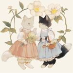 animal animal_focus basket black_cat bloomers blue_dress bouquet bow cat cat_tail dress floral_background flower frilled_dress frills full_body highres holding holding_bouquet kitten leaf long_sleeves no_humans original pawpads pink_dress simple_background slit_pupils standing tail tono_(rt0no) underwear white_cat white_flower