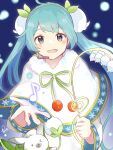 >_< 1girl 1other ainu_clothes aoiyui aqua_eyes aqua_hair capelet cherry commentary dress eighth_note flower food fruit fur-trimmed_capelet fur_trim glowing gold_trim hair_flower hair_ornament hatsune_miku headset holding holding_flower lily_of_the_valley long_hair looking_at_viewer musical_note night open_mouth outdoors rabbit_yukine signature smile snow_fairy_story_(vocaloid) snowbell_(flower) snowflake_print snowing treble_clef twintails very_long_hair vocaloid white_capelet white_dress white_flower yuki_miku yuki_miku_(2015)