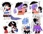 ... 4girls anger_vein angry arrow_print barefoot blue_hair blush bow bowl bowl_hat bowtie child child_carry closed_eyes doll doremy_sweet dress finger_to_mouth fume hat horns japanese_clothes kijin_seija kimono kishin_sagume kiss long_sleeves multicolored_hair multiple_girls pink_kimono pom_pom_(clothes) purple_dress silver_hair single_wing spitting streaked_hair sukuna_shinmyoumaru thick_eyebrows touhou translation_request wings yanagita_(daitai_2_ton) younger