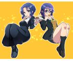 2girls absurdres bangs black-framed_eyewear black_dress black_footwear black_jacket black_legwear blue_eyes blue_hair boots bow bowtie bread breasts brown_footwear buttons ciel_(tsukihime) closed_mouth commentary_request dress eating eyebrows_visible_through_hair food food_in_mouth food_on_face glasses green_bow green_neckwear grey_skirt habit hair_between_eyes highres holding holding_food itsuka_neru jacket long_sleeves looking_at_viewer medium_breasts miniskirt multiple_girls nun open_clothes open_jacket parted_bangs pleated_skirt shirt shoes short_hair sidelocks sitting skirt smile spoon thighs tsukihime tsukihime_(remake) utensil_in_mouth vest white_shirt yellow_background yellow_vest
